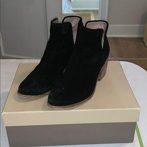 Hinge black suede booties